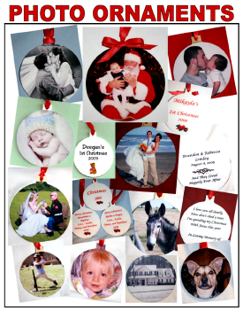 Personalized Photo Ornaments - Imprinted with Your Photo and Message on the back
