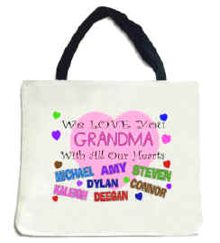 "WE LOVE YOU ""ANY NAME"" TOTE BAG - Personalized with your information. Great Gift!"