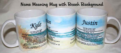 Name Meaning Coffee Mug - BEACH Background